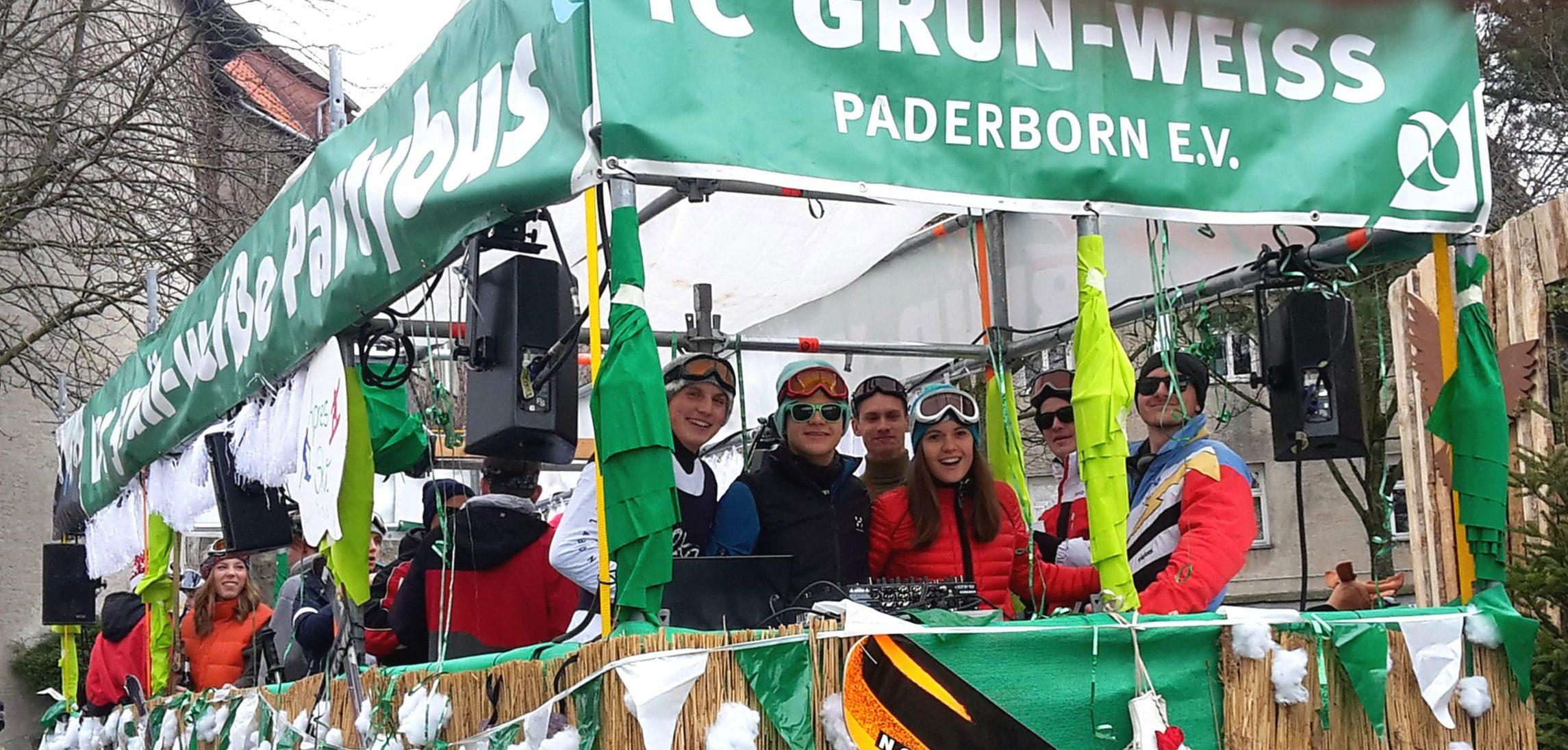 Der GRÜN-WEISSE PARTYBUS – 13.Teilnahme an der Karnevalsparade am 02.03.2019