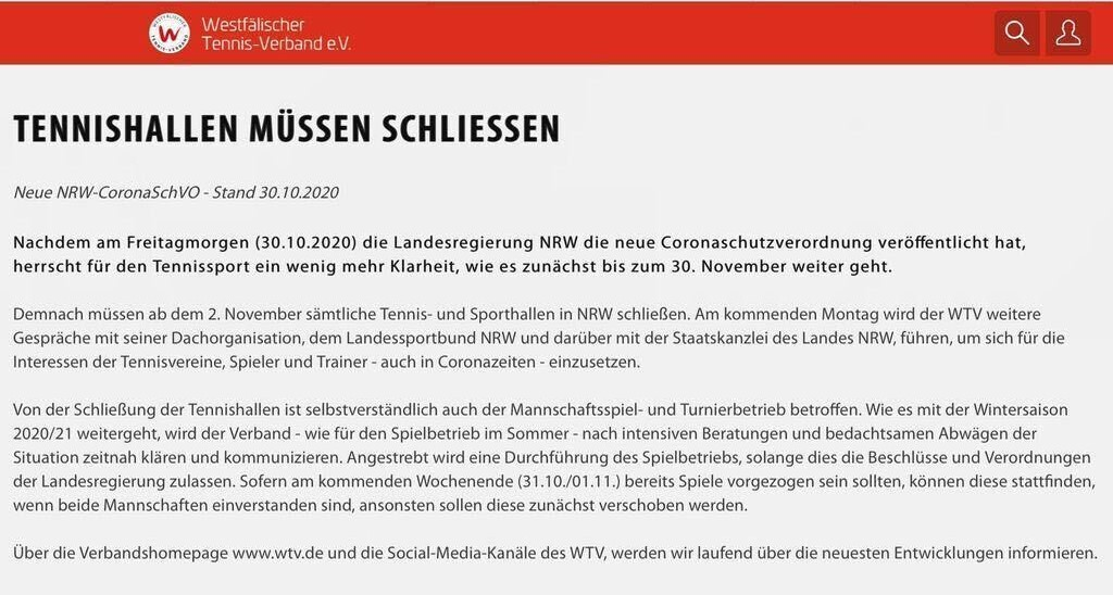TENNISHALLE MUSS SCHLIEßEN AB MONTAG, 02.11.20
